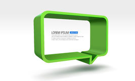 Vector illustration of green dialog box. Abstract 3d infographic shapes  background Royalty Free Stock Images