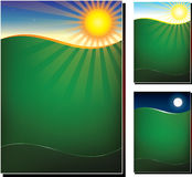 Vector illustration of green field in 3 variations. Midnight, morning, night, poster design template Stock Photos