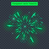 Vector illustration of green fireworks, transparent light effect, new year. Holiday Royalty Free Stock Photography