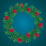 Floral wreath with green leaves, red flowers and flower buds. vector illustration
