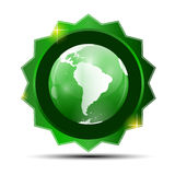 Vector Illustration of Green Label with Globe Map Stock Photography