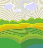 Vector illustration . Green Landscape Royalty Free Stock Image