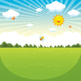 Vector Illustration Of Green Landscape Royalty Free Stock Image