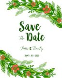 Vector illustration green leafy flower frame blooms with wedding invitation card save the date vector illustration