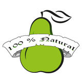 Vector illustration green pear silhouette.Natural product fresh food calligraphic lettering label badge Royalty Free Stock Photography