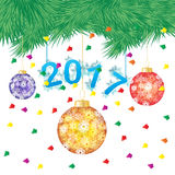 Vector illustration of a green pine tree or Christmas tree with hanging Christmas ball on white background Stock Photo