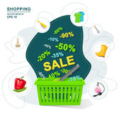 Vector illustration. Green plastic shopping basket discount. Selling a wide variety of goods. Sale, interest Stock Image