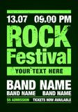 Vector illustration rock festival flyer design template with grunge effects. Vector illustration green rock festival party flyer design template with grunge vector illustration