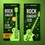 Vector illustration green rock festival ticket design template with guitar. For music concert, events with grunge effects vector illustration