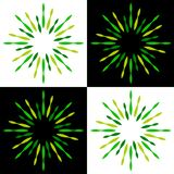 Sparkles starburst sunburst green logos. Vector illustration of green sparkles starburst sunburst logos on white background Stock Image