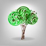 Vector illustration. Green Tree. Tree casts a shadow, vector illustration Royalty Free Stock Photo