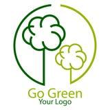 Green tree logo - vector illustration. Vector illustration of green tree logo - go green concept Stock Image