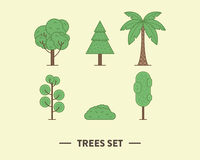 Vector illustration of the green trees set with a Stock Images