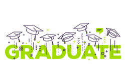 Vector illustration of green word graduation with graduate caps. On a white background. Congratulation graduates 2017 class of graduations. Line art design of Vector Illustration
