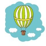 Vector illustration, green and yellow hot air balloon. Flying in the blue sky. Abstract blue background. Vector template in cartoon syle for cards, posters and royalty free illustration