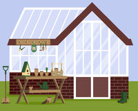 Vector illustration with greenhouse and gardening tools Royalty Free Stock Images