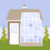 Vector illustration of greenhouse with glass walls and brick foundation Stock Photos