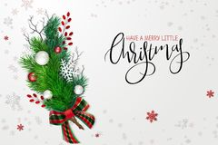 Vector illustration of greeting banner template with hand lettering label - merry Christmas - with realistic fir-tree. Branches, bauble, snowflakes, and stock illustration