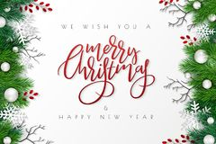 Vector illustration of greeting banner template with hand lettering label - merry Christmas - with realistic fir-tree. Branches,, snowflakes, and decorative vector illustration