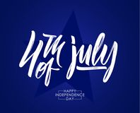 Vector illustration: Greeting card with calligraphic type lettering composition of 4th of July. Happy Independence Day.  Royalty Free Stock Photo