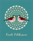 Greeting Card with Czech Text Vesele Velikonoce, in English Happy Easter. Willow Branches, Green Leaves, Bees and Birds. Vector Illustration: Greeting Card with stock illustration