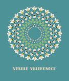 Greeting Card with Czech Text Vesele Velikonoce, in English Happy Easter. Willow Branches, Green Leaves and Bees. Vector Illustration: Greeting Card with Czech royalty free illustration