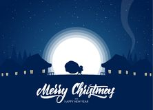 Silhouette of Santa Claus carries a heavy sack full of gifts in village on moon background. Vector illustration: Greeting card with flat cartoon scene Royalty Free Stock Photo