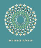 Greeting Card with French Text Joyeuses Paques, in English Happy Easter. Willow Branches, Green Leaves and Bees. Vector Illustration: Greeting Card with French stock illustration