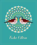 Greeting Card with German Text Frohe Ostern, in English Happy Easter. Willow Branches, Green Leaves, Bees and Couple of. Vector Illustration: Greeting Card with stock illustration