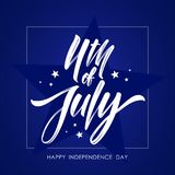 Vector illustration: Greeting card with hand lettering of Fourth of July. Happy Independence Day.  Royalty Free Stock Images