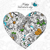 Vector illustration greeting card Happy Valentine's Day Heart zentangl, dudling, zenart. Flowers, leaves.  Adult Stock Image