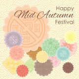 Mooncakes corner pastel. Vector illustration of greeting card for Mid Autumn Festival with traditional mooncakes and pastel ornamental background Royalty Free Stock Image