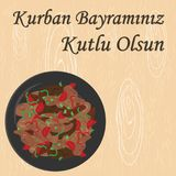 Kavurma kurban corner. Vector illustration of greeting card for sacrifice feast with traditional meat meal  kavurma and greeting in turkish language which means Royalty Free Stock Photos