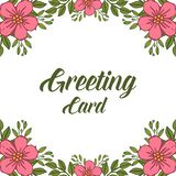 Vector illustration greeting card with texture frame flower pink green leafy stock illustration