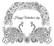 Vector illustration, greeting card, valentines, pair of swans in love under a floral arch. The work Made in manually. Coloring boo. K anti stress for adults Royalty Free Stock Photos