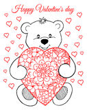Vector illustration, greeting card, valentines, a teddy bear with a heart. The work Made in manually. Book Coloring anti-stress fo Royalty Free Stock Photography