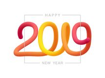 Vector illustration: Greeting liquid typographic composition of Happy New Year 2019. Vector illustration: Greeting liquid typographic composition of Happy New stock illustration