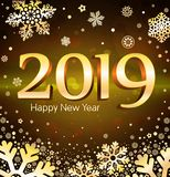 Vector illustration of greeting the new year with the numbers of 2019 on a black background and golden snowflakes. 2019 Happy New Year card design. Vector royalty free illustration