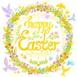 Happy Easter - circle decorated with flowers, little birds Stock Image