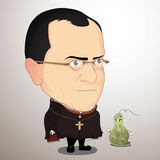 Vector illustration - Gregor Mendel. Gregor Mendel Cartoon Character with Illustrator Royalty Free Stock Image