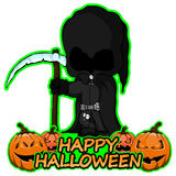 Grim Reaper wishes happy halloween on isolated white background. Vector illustration Grim Reaper wishes happy halloween on isolated white background Royalty Free Stock Images