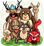 Vector illustration, with a group of forest animals Royalty Free Stock Photos