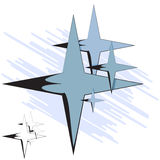 Vector illustration. Group of four-pointed star Royalty Free Stock Photography