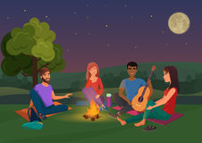 Vector illustration of group of friends sitting with guitar and talking at night. Royalty Free Stock Images