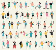 Vector illustration of group people and families Royalty Free Stock Photo