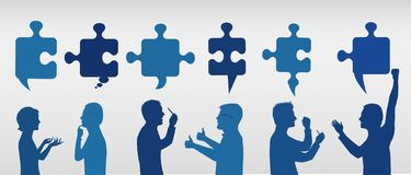 Profile people gesturing with puzzle pieces. Business solution. Concept problem solving team. Strategy and success. Client service stock illustration