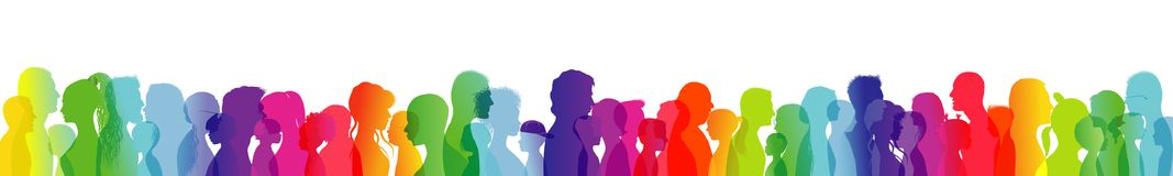 Crowd talking. Dialogue between people of different ages and ethnic groups. Rainbow colored profile silhouette. Many different peo royalty free illustration