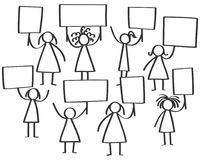Vector illustration of group of protesting female stick figures, women holding up blank boards. Isolated on white background Stock Photo
