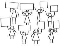 Vector illustration of group of protesting stick figures, men and women holding up blank boards. Isolated on white background Stock Photography