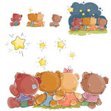 Vector illustration of a group of teddy bears sitting and looking at the stars, rear view Stock Image